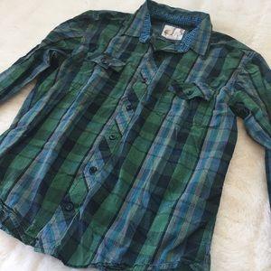 Men's Plaid OP Button Down Shirt L